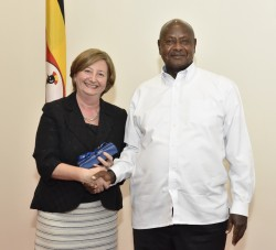 President Yoweri Museveni shares a light moment with the President of the International Criminal Cou